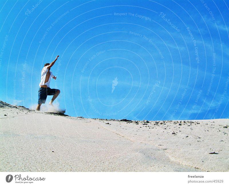 Human being Sky Man Vacation & Travel Sun Summer Beach Clouds Playing Sand Jump