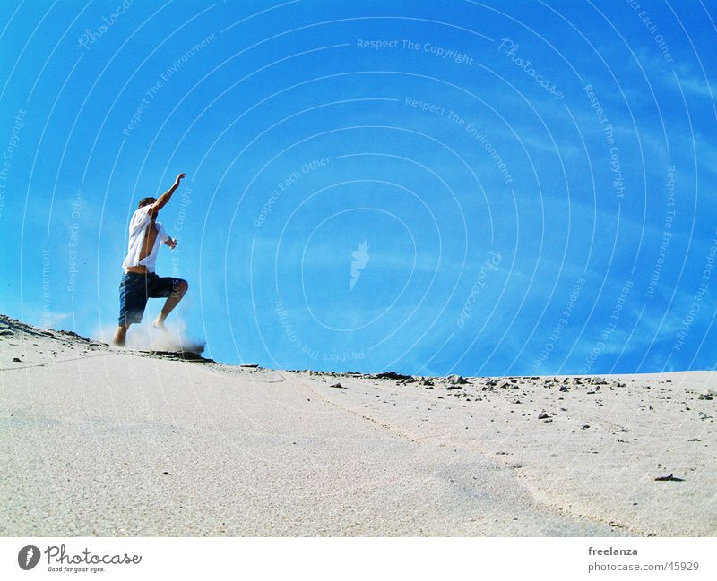 jump Jump Beach Vacation & Travel Clouds Summer Human being Man Playing spung Sky Sand Sun