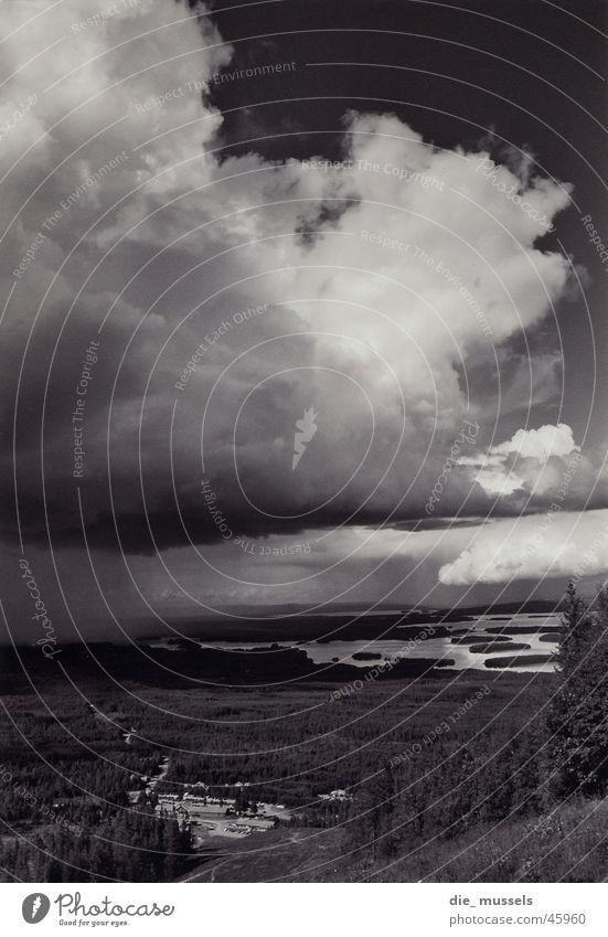 downpour Clouds Lake Rain Landscape Black & white photo Mountain Sky