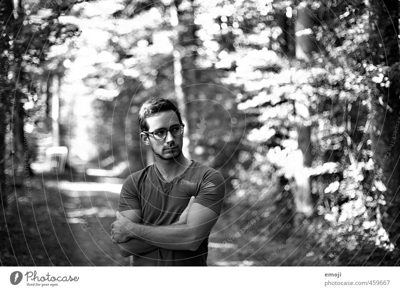 off Masculine Young man Youth (Young adults) 1 Human being 18 - 30 years Adults Environment Nature Forest Beautiful Muscular Black & white photo Day