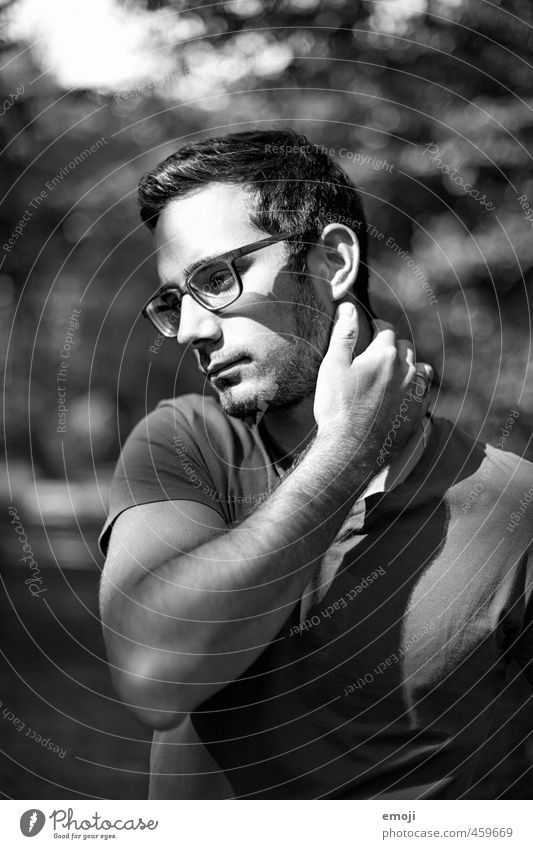 forest Masculine Young man Youth (Young adults) Face 1 Human being 18 - 30 years Adults Eyeglasses Beautiful Black & white photo Exterior shot Day Light Shadow