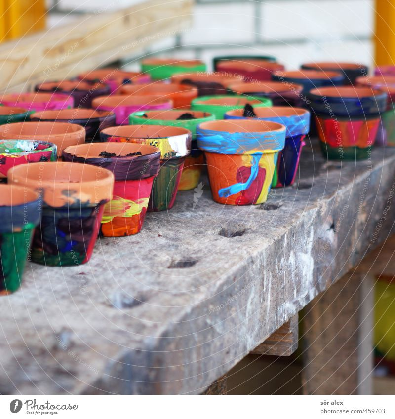 Blue Beautiful Green Red Yellow Spring School Orange Creativity Education Painting (action, work) Kindergarten Parenting Flowerpot Biology Spring fever