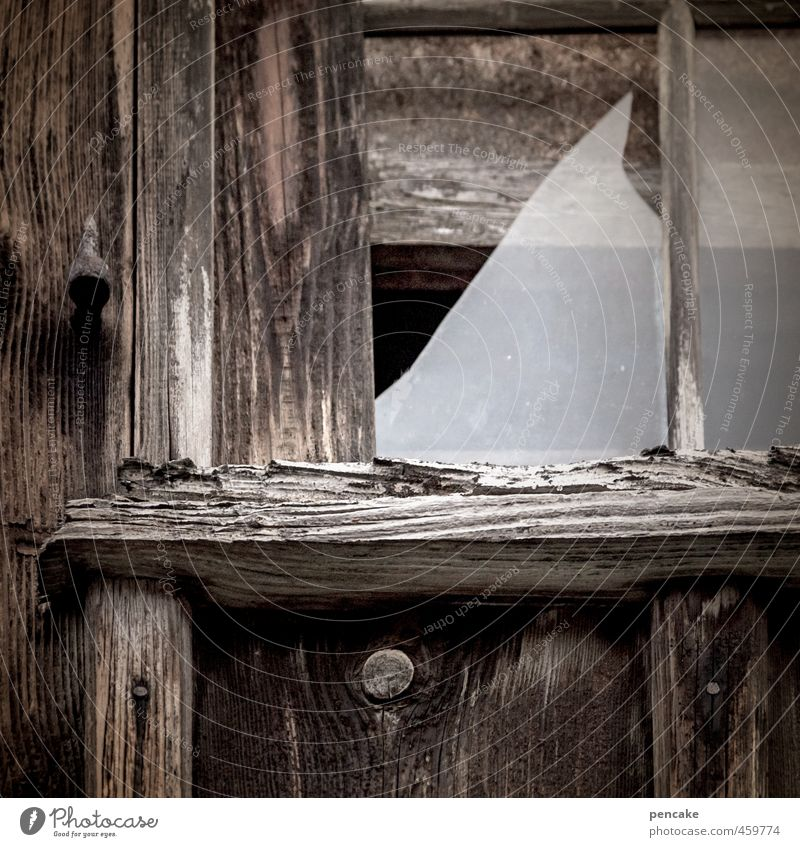 howl! | Happiness and glass Hut Window Wood Glass Sign Poverty Authentic Broken Small Happy Fragile Smashed window Dark Old Cry Wooden hut Subdued colour