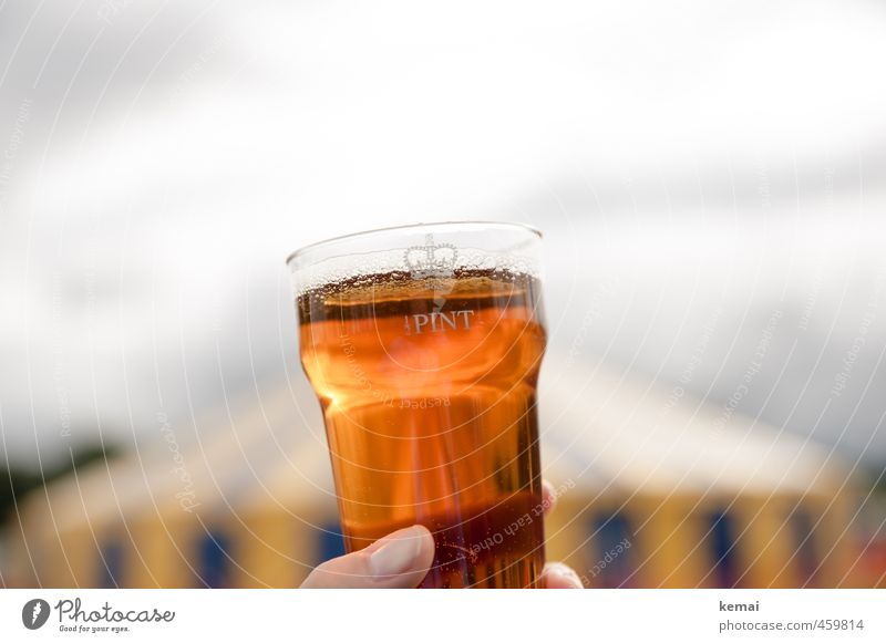 Half Pint Beverage Alcoholic drinks Beer Mug Plastic cup pint Halfpint Lifestyle Fingers Thumb Delicious Tent England Colour photo Subdued colour Exterior shot