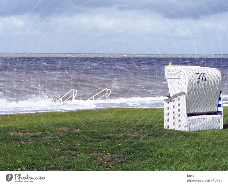 Vacation & Travel Ocean Loneliness Calm Meadow Wind Trust North Sea Gale Wanderlust Beach chair Schleswig-Holstein Health Spa Husum