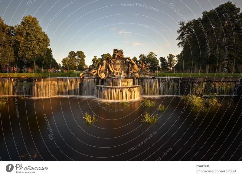 cascade Sculpture Architecture Tree Park Castle Terrace Tourist Attraction Brown Green White Flow Castle grounds Well Waterfall Colour photo Exterior shot Day