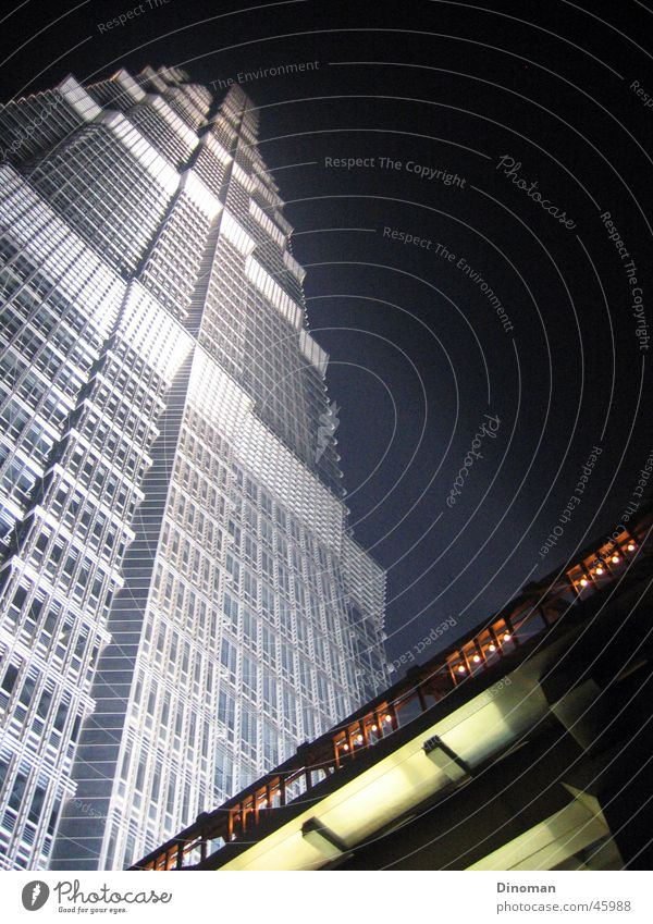 Jin Mao Tower, Shanghai Town China Night Night sky Pu Dong Jin-Mao Buildings Grand Hyatt Hotel High-rise Exterior shot Floodlight Modern impressioning