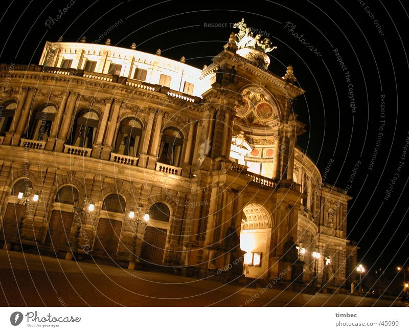 Semper Opera Dresden Education Culture Lady Gentleman Federal State Saxony Europe Night shot Long exposure Artist Germany long Architecture