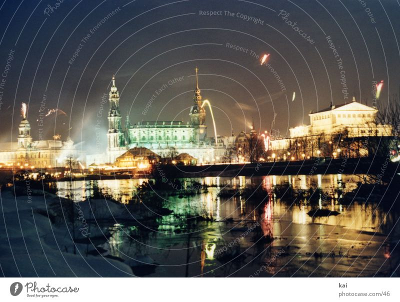 New Year's Eve Night sky Dresden Firecracker Elbe Event Midnight Elbufer