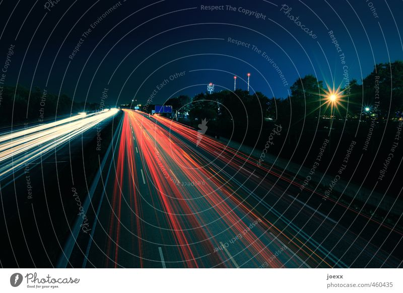 Round trip Sky Night sky Beautiful weather Transport Traffic infrastructure Rush hour Road traffic Motoring Street Highway Driving Speed Blue Yellow Red Black