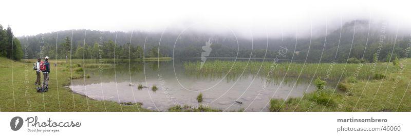 Woman Man Nature Green Grass Mountain Lake Landscape Hiking Fog Body of water