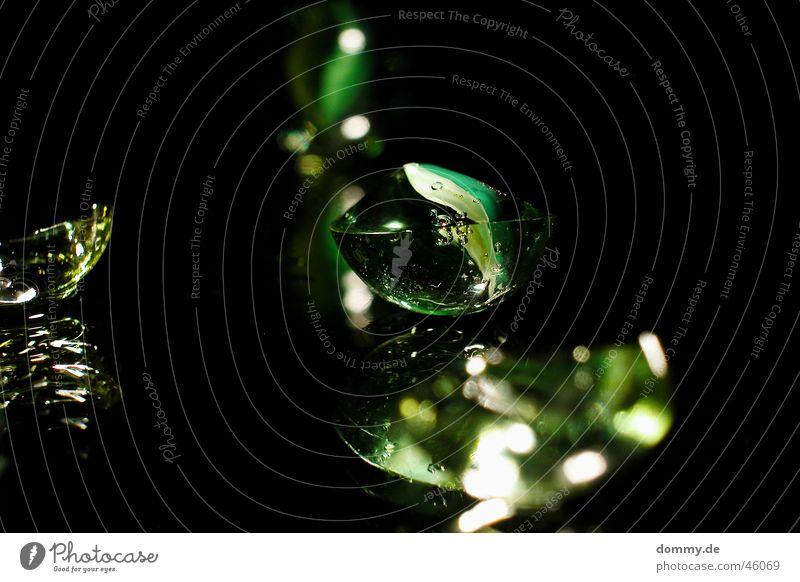 Green Black Jump Glass Round Broken Mirror Marble