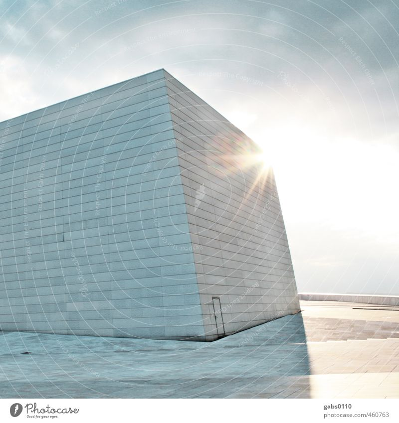 Q Art Cold Design Architecture White Gray Blue Light blue Wall (barrier) Wall (building) Building Square Line Clouds Sun Back-light Lens flare Door Front door