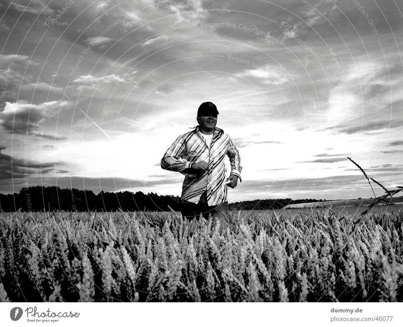 Man White Joy Black Clouds Laughter Field Walking Running T-shirt Grain Shirt Harvest Bavaria Würzburg