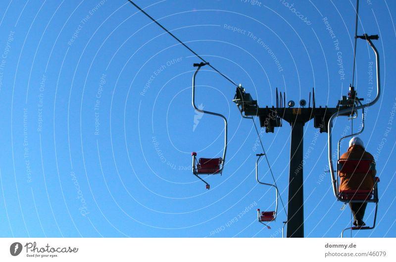 Woman Sky Blue Sun Loneliness Rope Elevator Ski resort Cable car