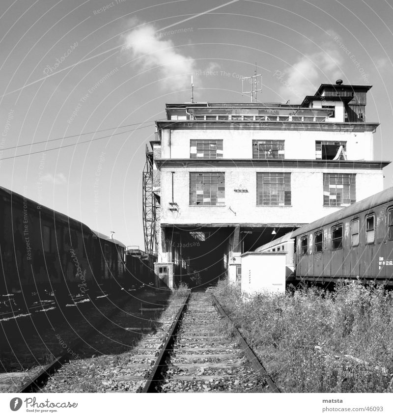 Old Dark Bright Large Historic Train station Warehouse Austria Dismantling Industrial 2006 Technical Monochrome Weathered Future