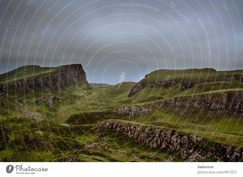 [Skye 09] Sron Vourlinn Environment Nature Landscape Elements Earth Summer Climate Bad weather Plant Grass Wild plant Rock Mountain Peak Scotland Isle of Skye
