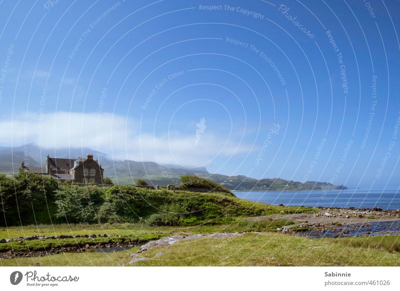 [Skye 13] Staffin Beach Environment Nature Clouds Plant Grass Bushes Hill Coast Bay Ocean Isle of Skye Scotland Village Fishing village