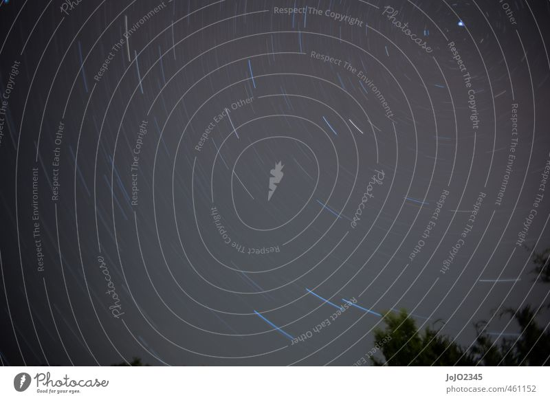 Star trail Nature Landscape Air Sky Sky only Cloudless sky Night sky Stars Summer Beautiful weather Blue Black White Night shot Long exposure Subdued colour