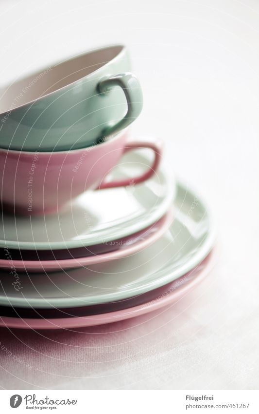 Bright Pink Cup Plate Stack Arrange Set meal Mixed To have a coffee Mint green Crockery Tea cup