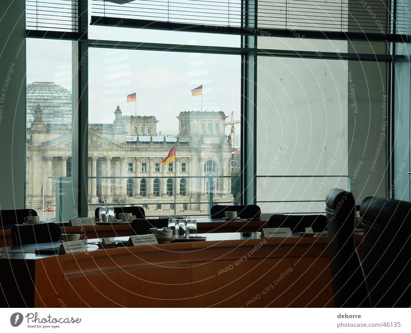 Looking at the Bundestag from within the board room in the Bundeskanzleramt. Reichstag Extravagant Politics and state Cabbage Profession Window Office