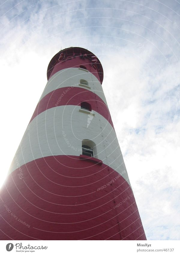 Lighthouse red-white Amrum Vacation & Travel Red White Vantage point Ocean Window Clouds North Sea Island Tower Sky Blue