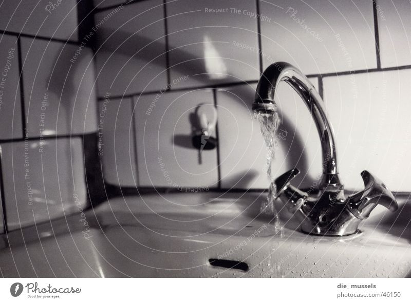 faucet Tap Water Black & white photo running water Tile