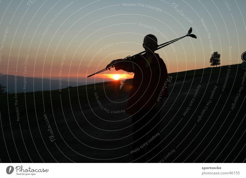 Winter Loneliness Dark Dusk Cross-country skier