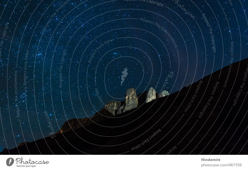 Under the Starry Tent (4): Sella Towers Elements Earth Air Cloudless sky Night sky Stars Summer Beautiful weather Hill Rock Alps Mountain Peak Stone Glittering