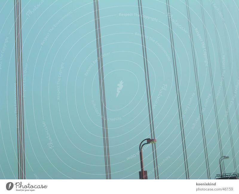 Sky Blue Line Bridge Stripe Lantern Vertical Wire cable San Francisco