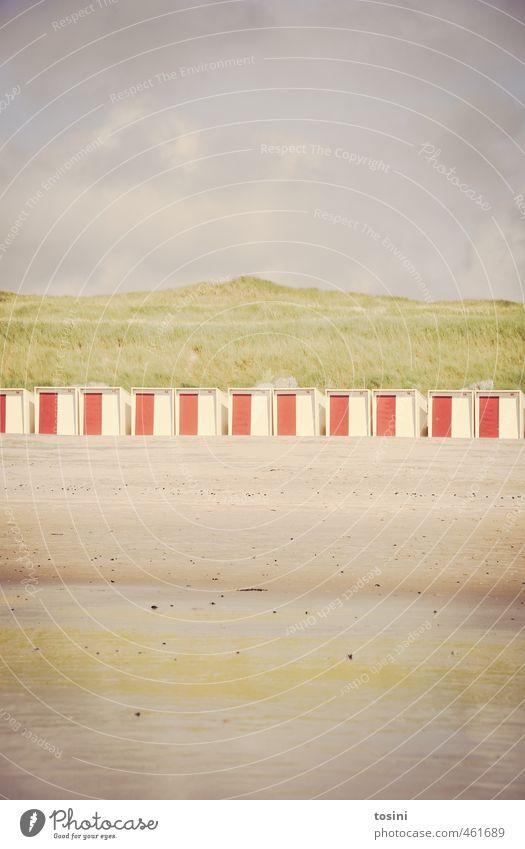 Sky Vacation & Travel Green Water Plant Ocean Clouds Beach Sand Line Arrangement Beach dune Row Sandy beach Beach chair Divided