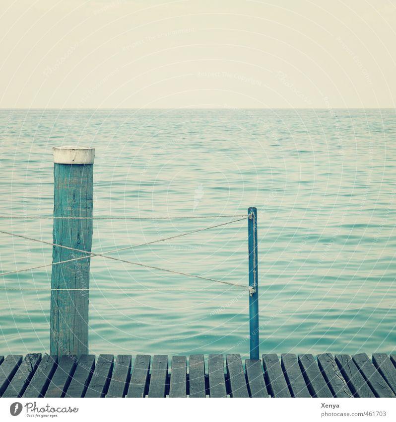 At the lake Vacation & Travel Summer Lake Retro Blue Calm Far-off places Footbridge Water Horizon Break Sadness Loneliness Wait Exterior shot Copy Space left