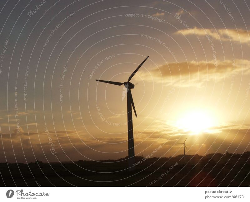 Sky Sun Clouds Landscape Power Wind Horizon Force Industry Energy industry Electricity Wind energy plant Propeller Renewable Renewable energy