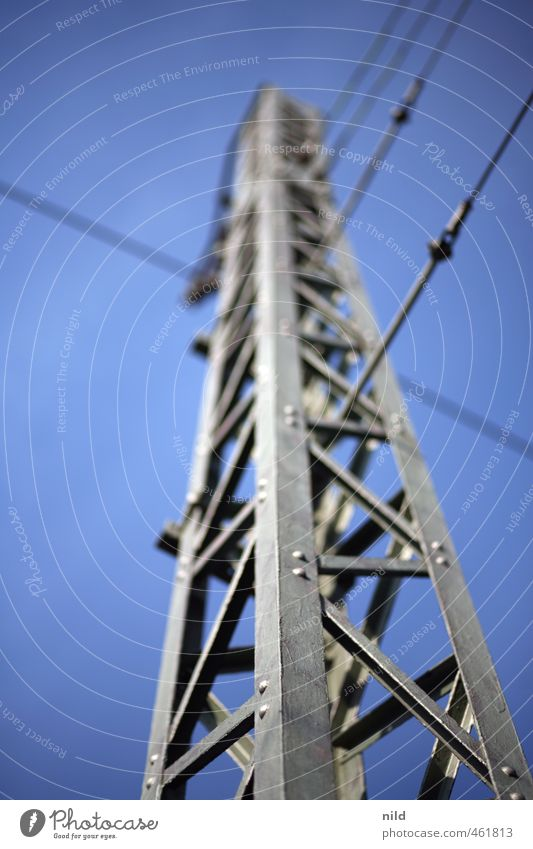 blue-grey Technology Energy industry Industry Electricity pylon Sky Cloudless sky Beautiful weather Blue Gray Ambitious Upward Colour photo Exterior shot Day