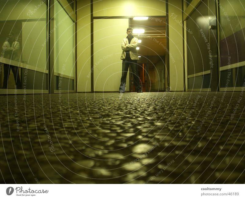 IN THE NIGHT ALONE Man Door Light Slum area Innsbruck Decline Flat (apartment) Posture Hero Bright Evening village