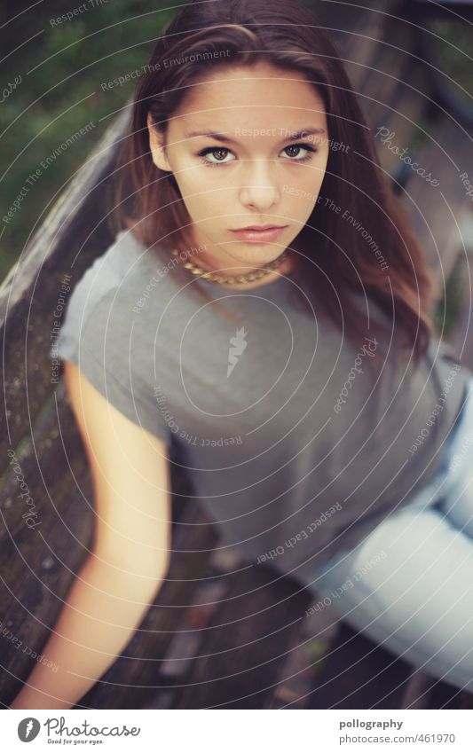 Human being Woman Child Youth (Young adults) Beautiful Summer Calm Young woman Adults 18 - 30 years Life Emotions Feminine Garden Moody Body