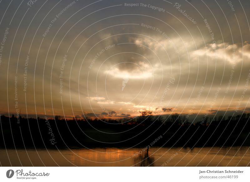 Sky Water Sun Tree Clouds Dark Bright River God Deities Weser