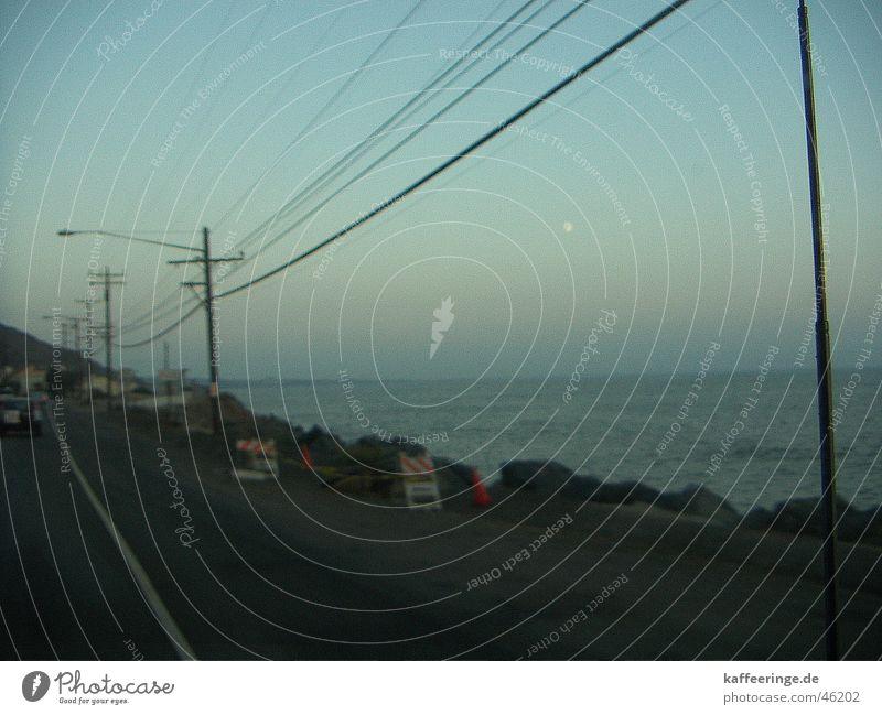 Water Sky Ocean Blue Beach Vacation & Travel Calm Street Cold Line Moody Fresh Highway Moon Telegraph pole California