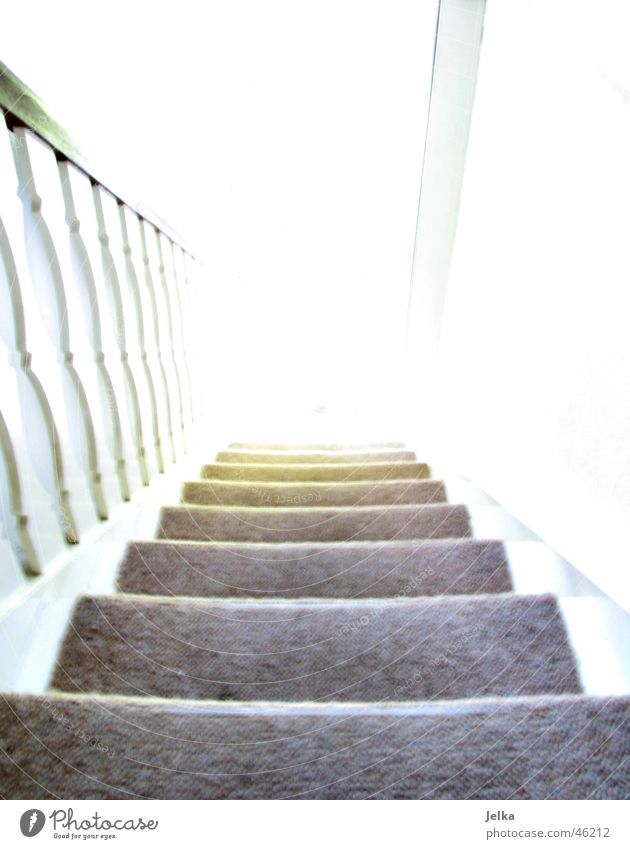 at the end the bright light Tunnel Stairs Bright Tunnel vision Downward staircase steps Handrail Light