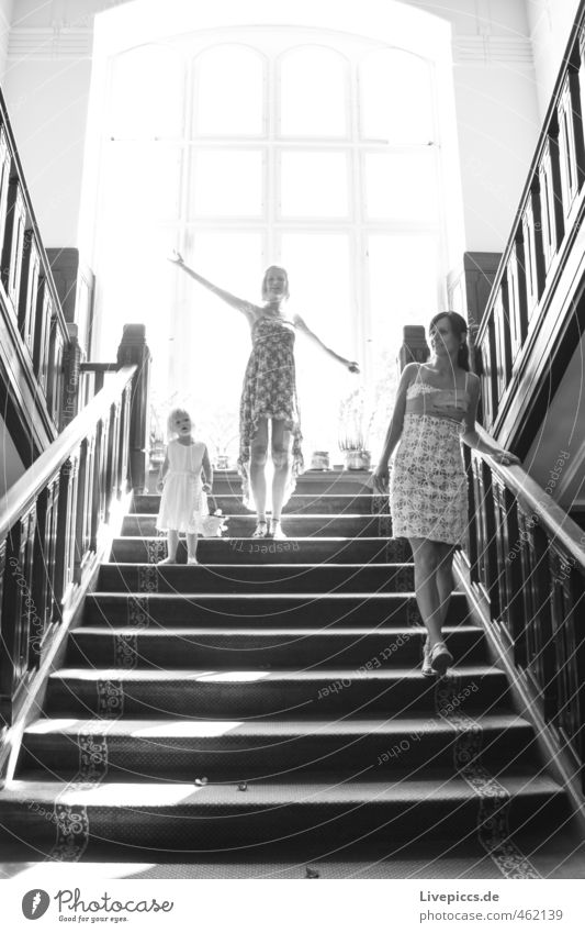 Human being Woman Child Beautiful Adults Window Feminine Eroticism Movement Going Bright Stairs Elegant Stand Happiness Esthetic