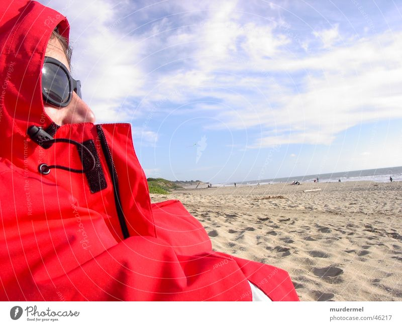 Human being Sky Ocean Red Beach Sand Wind