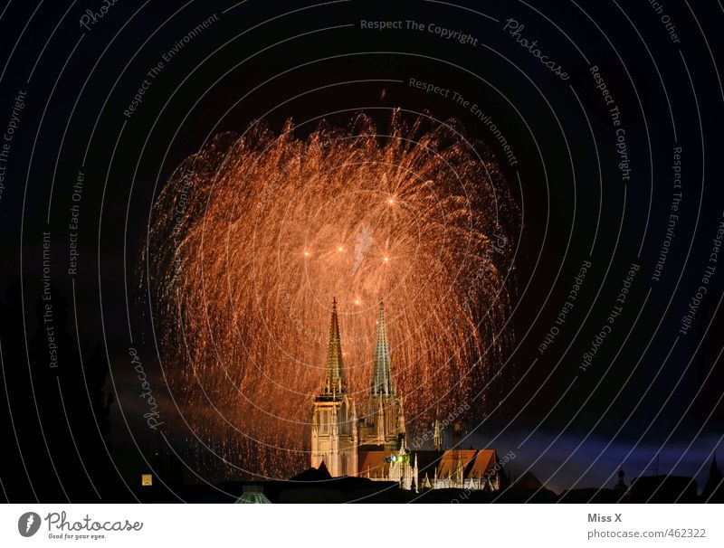 City Dark Feasts & Celebrations Party Gold Glittering Large Illuminate Tall Church Fire New Year's Eve Event Firecracker Dome