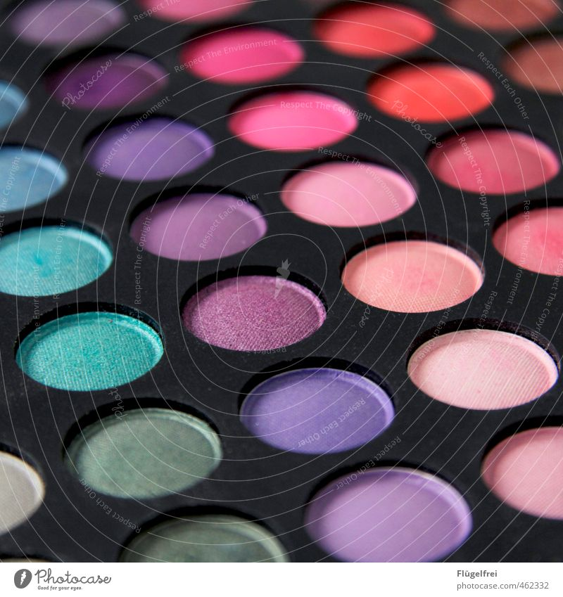C:47 M:78 Y:22 K:2 Beautiful Make-up Cosmetics Multicoloured Violet Turquoise Eye shadow Palett Glittering Pink Appearance Eyes Colour photo Interior shot