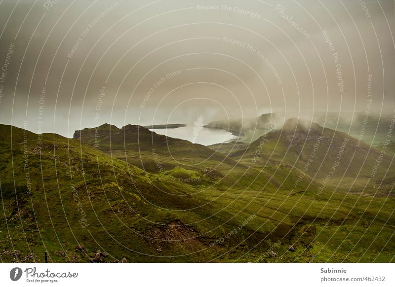 [Skye 10] Quiraing Environment Nature Landscape Elements Earth Clouds Summer Climate Bad weather Wind Fog Plant Grass Agricultural crop Hill Rock Coast Ocean