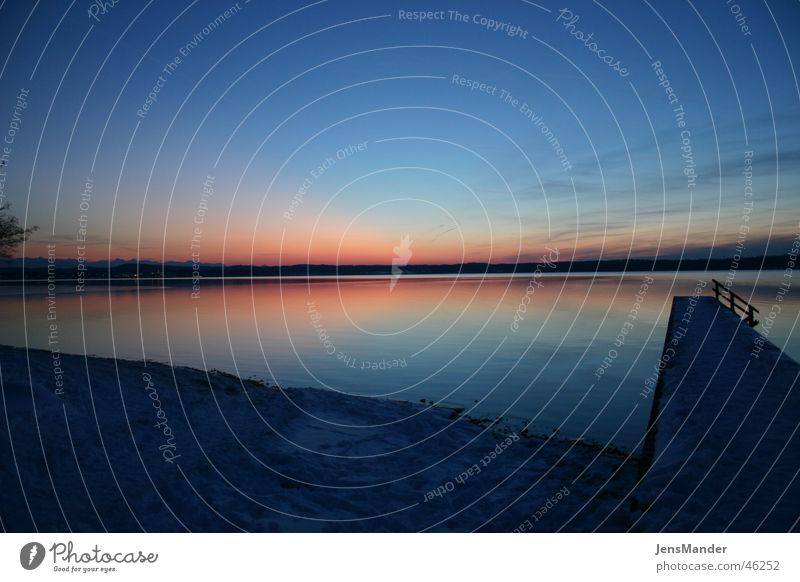 Lake Starnberg Footbridge Sunset Winter Calm Sky Evening