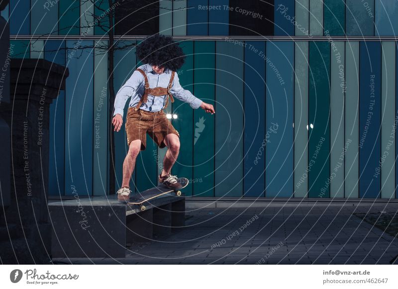 Blue City Young man Wall (barrier) Architecture Jump Flying Action Dangerous Athletic Munich Skateboarding Tradition Bavaria Sportsperson
