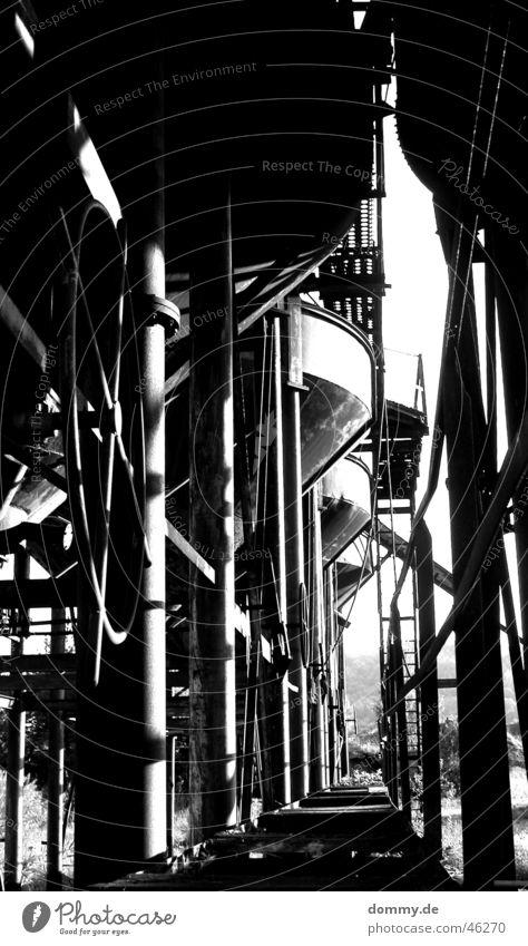 old Gravel plant Black White Funnel Work of art Black & white photo Line Rust Rod Processing Loneliness Corridor