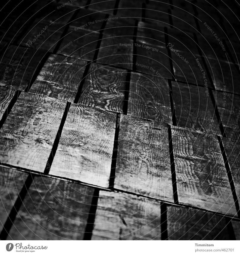 That goes wrong. Wood Going Looking Esthetic Dark Glittering Gray Black Emotions Wood grain Wooden floor Old Column Line Black & white photo Interior shot