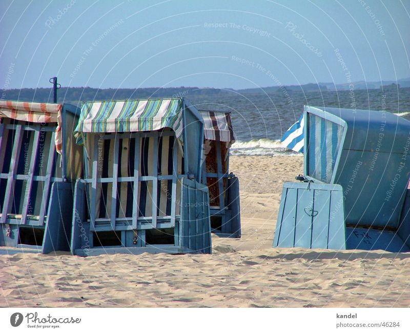 forsake sb./sth. Beach Beach chair Ocean Usedom Autumn Closed Baltic Sea Water Blue Island Sun Sand