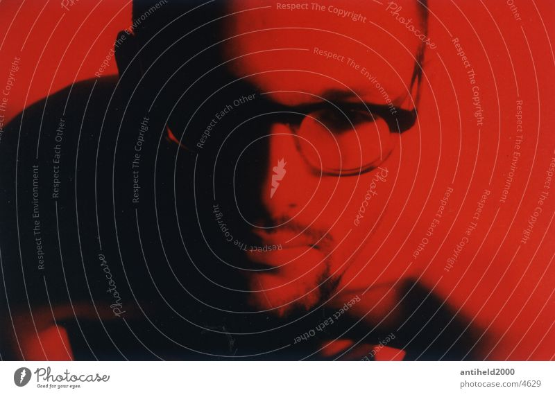 spectacled cobra Eyeglasses Portrait photograph Man Light Red Calm Frontal Landscape format Human being Shadow
